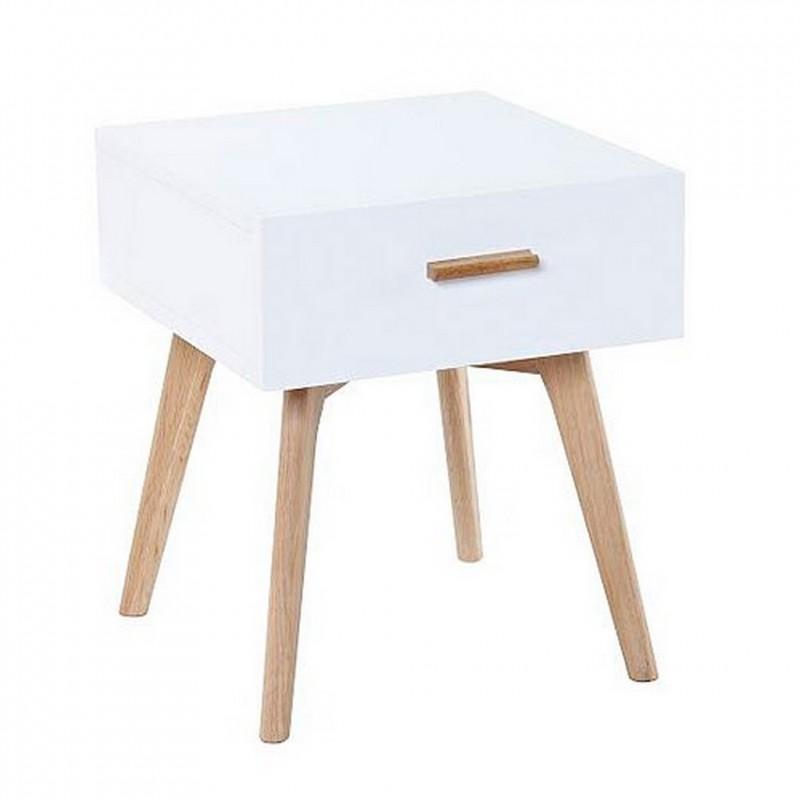 Chevet blanc 1 tiroir 4 pieds ch ne vintage for Table de chevet nordique