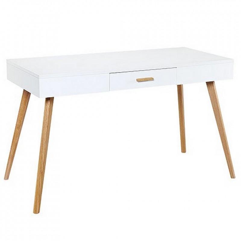 Bureau blanc 1 tiroir 4 pieds ch ne vintage for Bureau 4 pieds