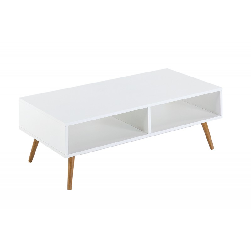 Table basse blanche 4 pieds ch ne vintage for Table basse blanche scandinave