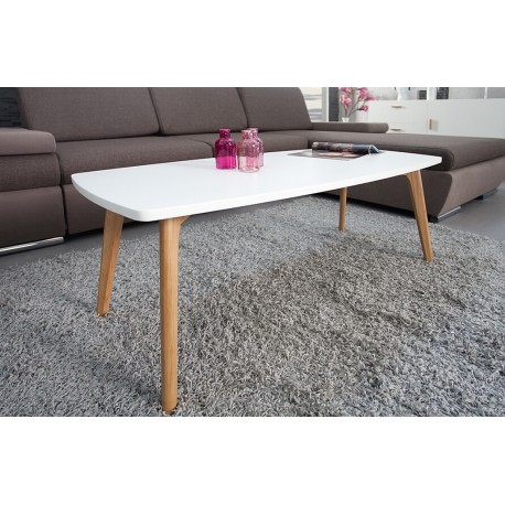 Table Basse Blanche 4 Pieds Chene