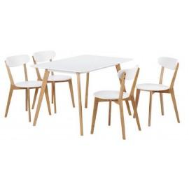 Table Repas 160 cm et 4 Chaises Blanches et Chêne