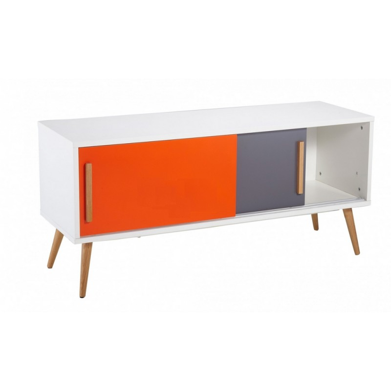 Meuble tv blanc vintage orange et gris for Meuble blanc et gris