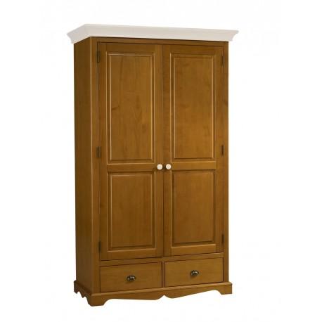 Grande armoire 2 portes 2 tiroirs style anglais pin miel 38202