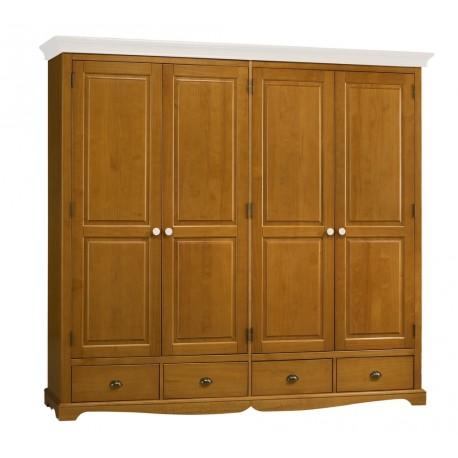 Armoire penderie 4 portes pin miel dessus blanc beaux for Armoire pas large