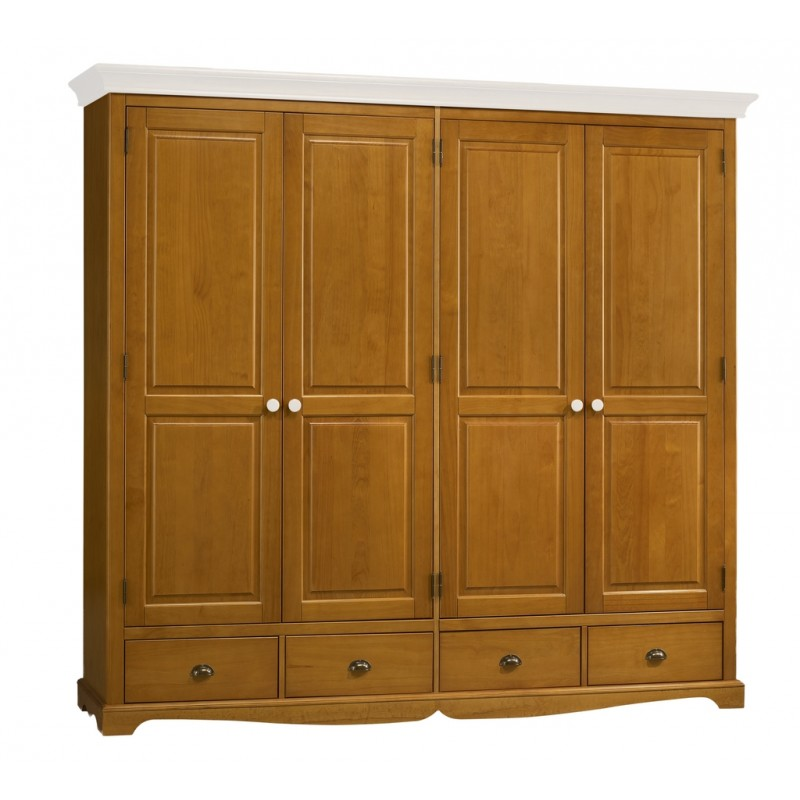 armoire penderie 4 portes pin miel dessus blanc beaux meubles pas chers. Black Bedroom Furniture Sets. Home Design Ideas