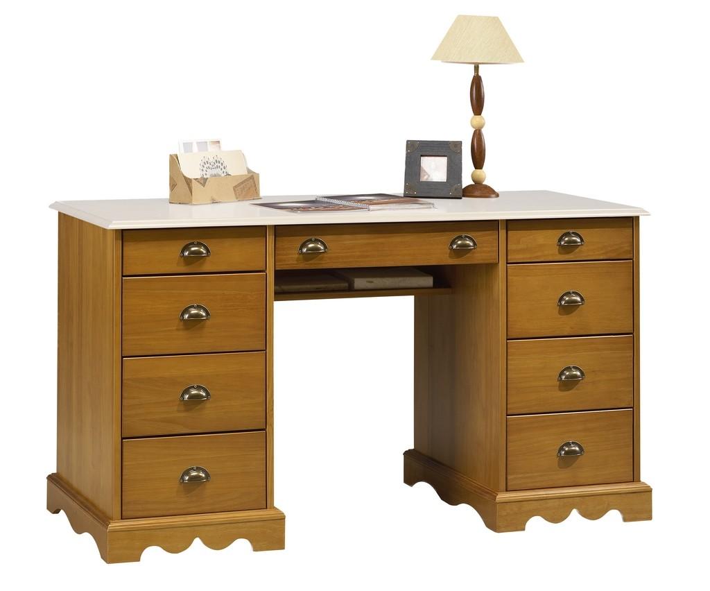 Grand bureau pin miel dessus blanc beaux meubles pas chers
