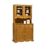 Buffet vaisselier 2P 2T 2P vitrées style anglais pin miel 38822