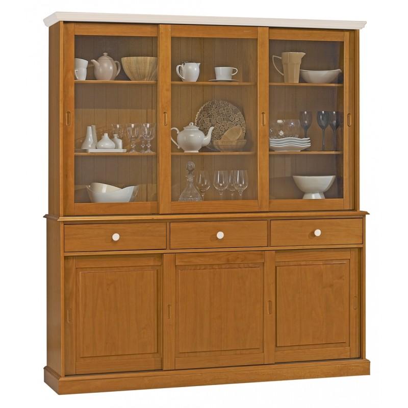 vaisselier pin miel portes coulissantes dessus blanc beaux meubles pas chers. Black Bedroom Furniture Sets. Home Design Ideas