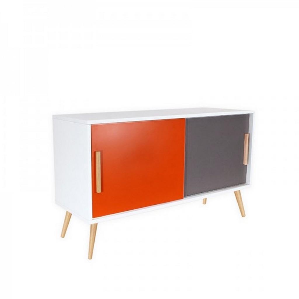 Buffet blanc 2 portes orange et gris 4 pieds chêne