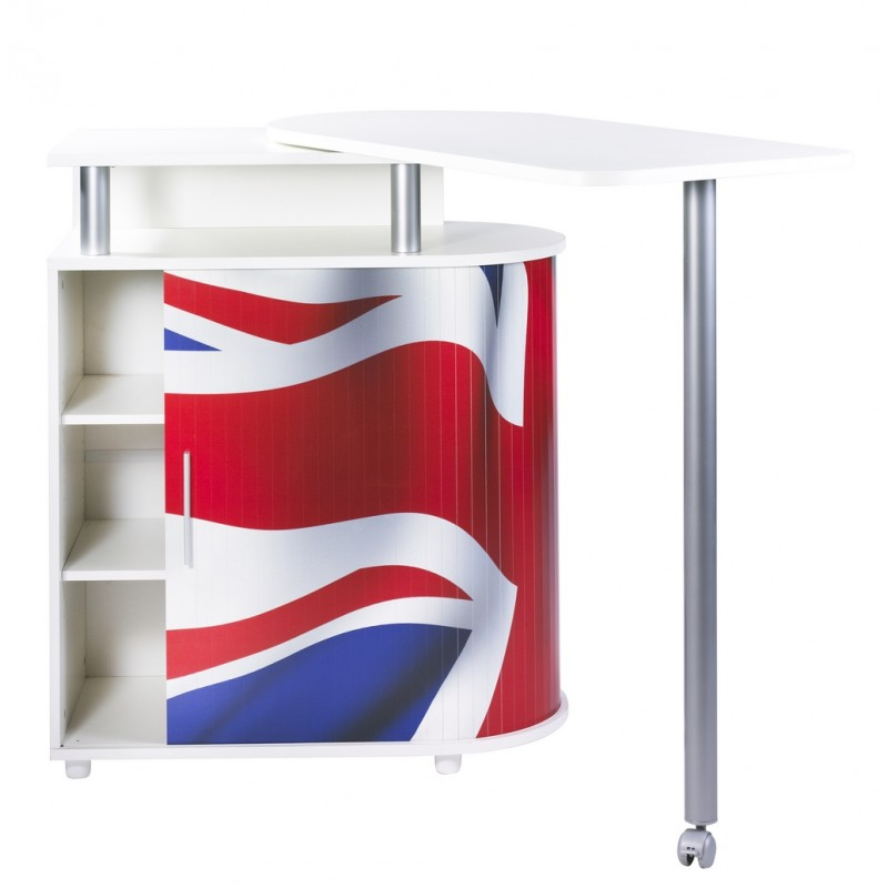 Desserte de cuisine avec table pivotante union jack for Cuisine avec table integree