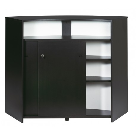 meuble bar comptoir d 39 accueil 2 portes noir beaux meubles pas chers. Black Bedroom Furniture Sets. Home Design Ideas