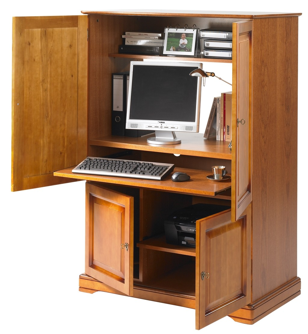 Meuble informatique ferm table de lit - Bureau informatique ferme ...