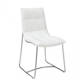2 chaises Blanches Metal Chromé