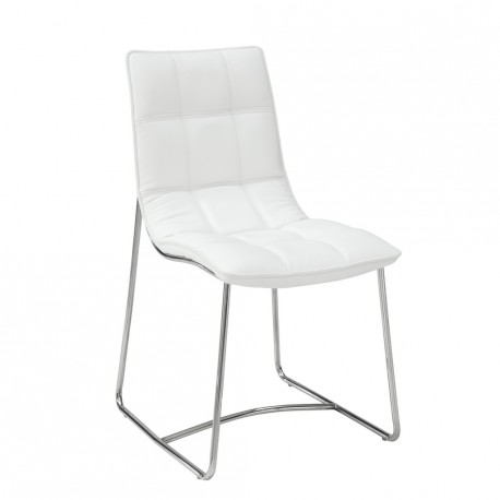 2 chaises Blanches Metal Chromé SOFTY