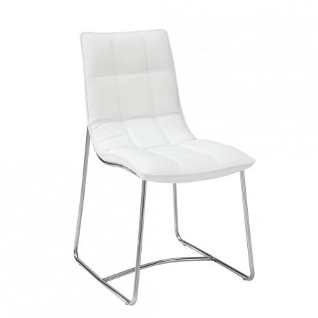 2 chaises Blanches Metal Chromé SOFTY