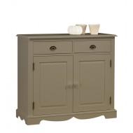 Bahut / buffet bas 2 portes 2 tiroirs style anglais blanc 40802