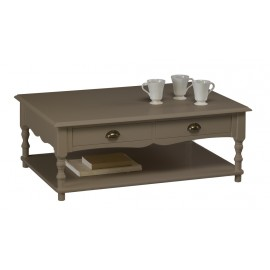 Table Basse Taupe Rectangle 2 Tiroirs Va-et-Vient