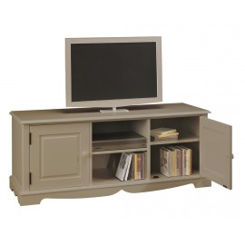 Meuble TV Hifi Taupe 2 Portes 2 Niches