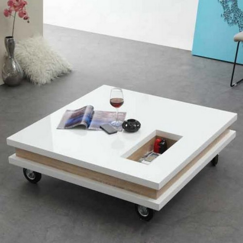 Table basse carr e 100 cm roulettes plateaux epais for Table blanche carree