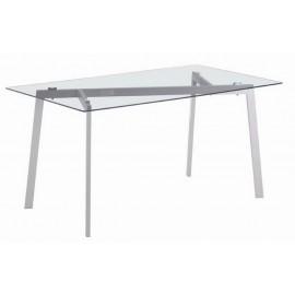 Table Repas 150 cm Plateau Verre Pieds Metal Gris