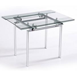 Table Haute de Cuisine Carrée Plateau Verre 135 cm