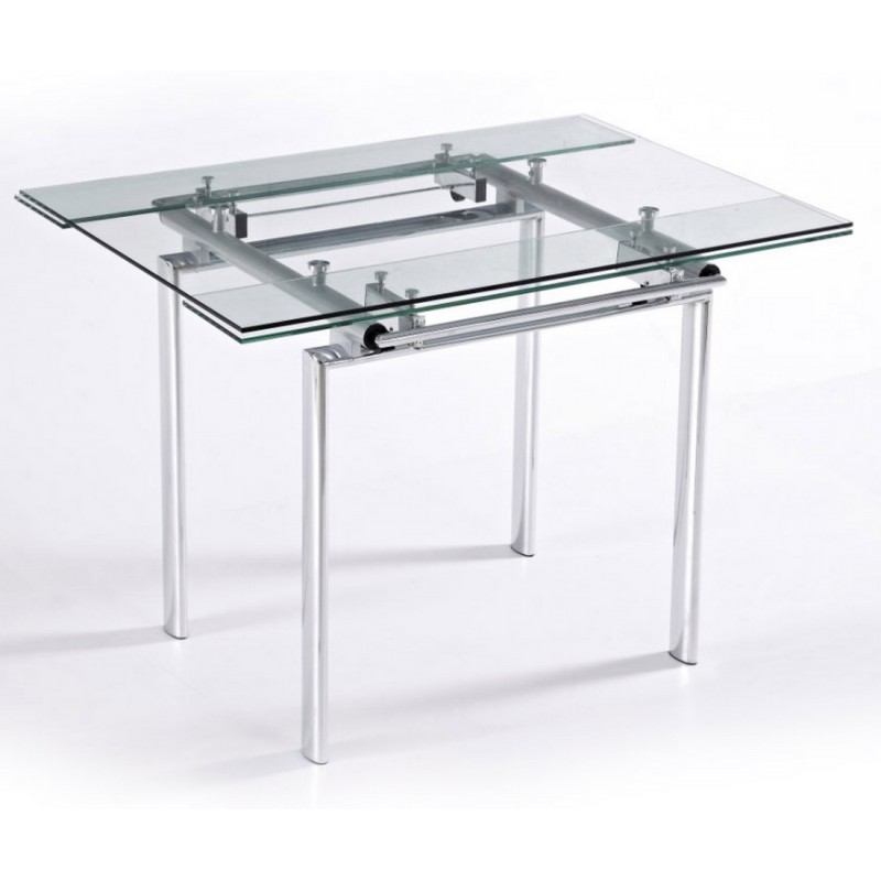 Table haute de cuisine carr e plateau verre 135 cm for Table en verre a rallonge