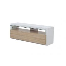 meuble tv blanc et ch ne panneaux pais led bleues. Black Bedroom Furniture Sets. Home Design Ideas