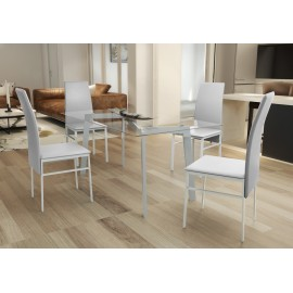 Table Verre + 4 Chaises Blanches Pas Cher
