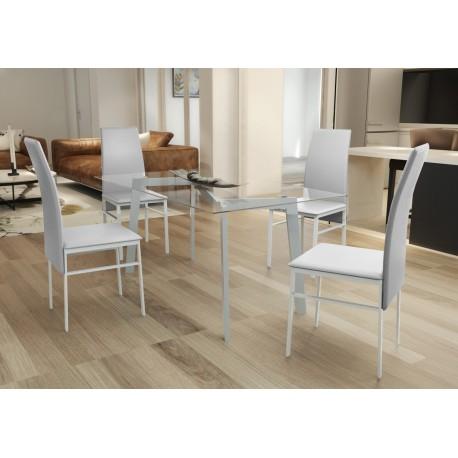 Table verre 4 chaises blanches pas cher - Chaises industrielles pas cher ...