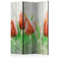 Paravent 3 volets  Red tulips on wood [Room Dividers]