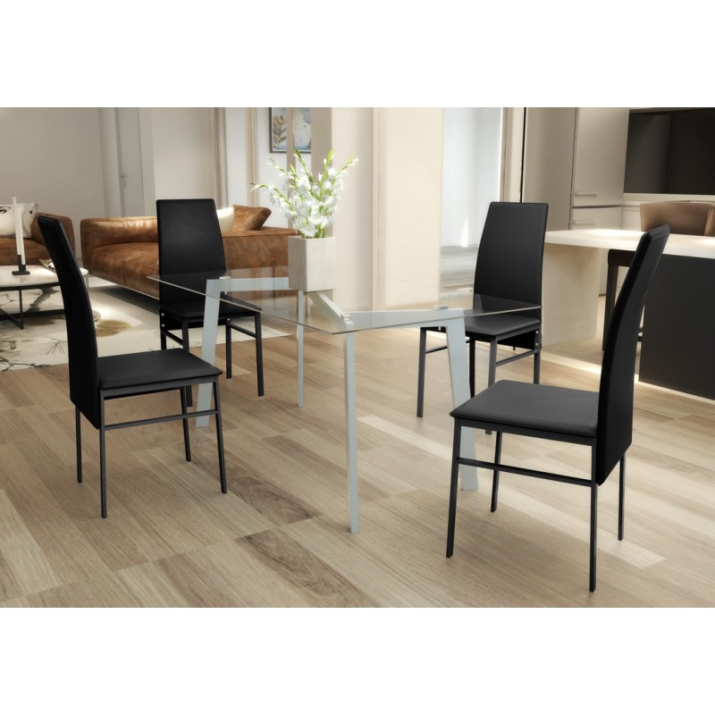 Lot de 1 table verre 4 chaises noires pas cher for Table en verre plus chaise