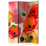 Paravent 3 volets  Velvet poppies [Room Dividers]