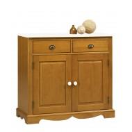 Bahut buffet bas 2 Portes 2 tiroirs style anglais pin miel 38802