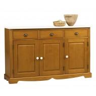 Buffet pin miel 3 portes 3 tiroirs dessus blanc