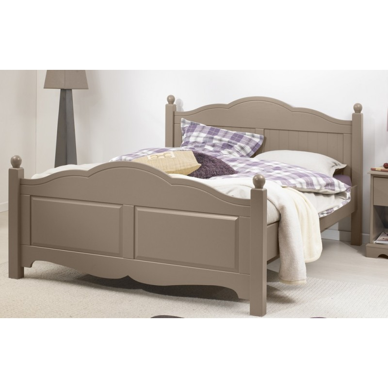 lit taupe 2 places 140x190 avec sommier et matelas mousse. Black Bedroom Furniture Sets. Home Design Ideas