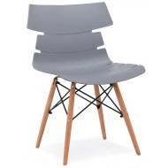 4 Chaises de Séjour Coque Design Pieds Bois Noires