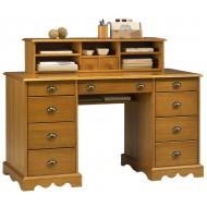 Bureau du notaire + surmeuble style anglais pin miel 11 tiroirs