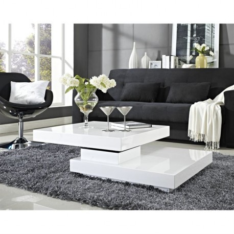 Table Basse Blanche Plateau Pivotant TURN02