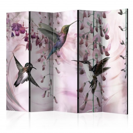 Paravent 5 volets  Flying Hummingbirds (Pink) [Room Dividers]