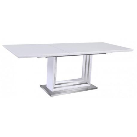 Table de Séjour Blanche Inox avec Allonges