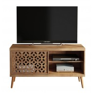 Meuble TV 120 cm Portes Dessins Pieds Bois