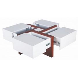 Table Basse Carrée Design 4 Rangements Coulissants