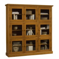 Bibliothèque pin miel 9 portes vitrées