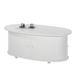 Table Basse Ovale Blanche 2 Rideaux