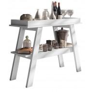 Table Console Blanche 2 Plateaux  108 cm