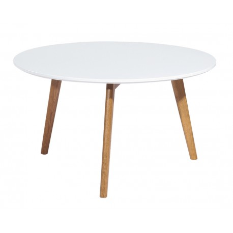 Table Basse Ronde Blanche 3 Pieds Chêne