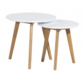 2 Tables Basses Gigognes Rondes Blanches 3 Pieds Chêne