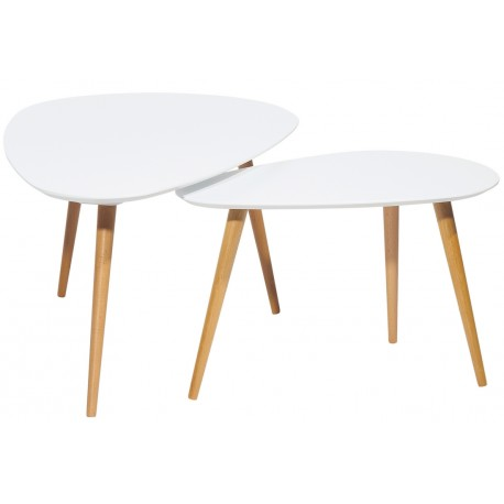 2 Tables Basses Gigognes Triangulaires Blanches 3 Pieds Chêne