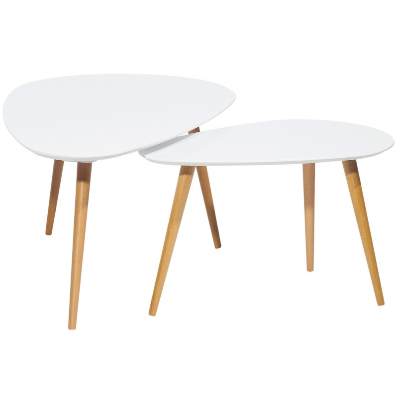 2 tables basses gigognes ovales blanches 3 pieds ch ne - Tables basses blanches ...