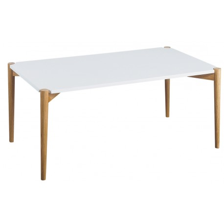 Table Basse Blanche Rectangle 4 Pieds Chêne